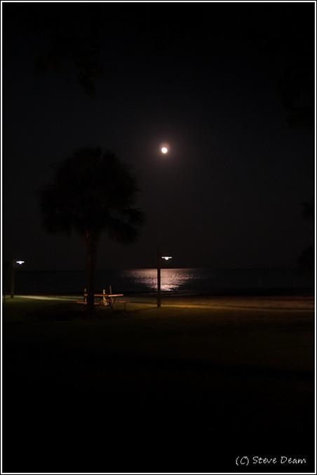 Full moon rising over the Cedar key beach
