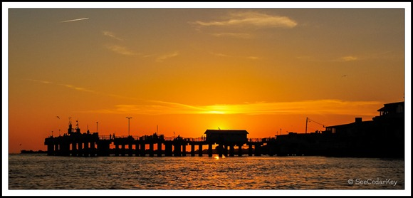 Cedar Key pier silhouetted against the sunset