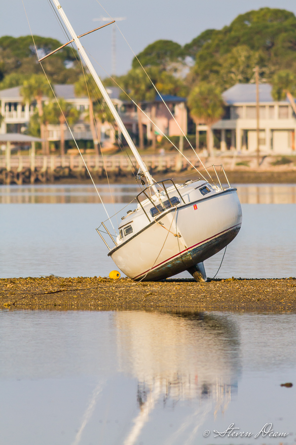 Sailboat on sandbar in Cedar Key Florida