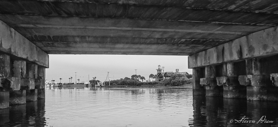 Under the C Street bridge in black & white