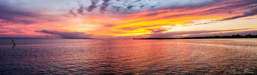 Cedar Key sunset panoramic